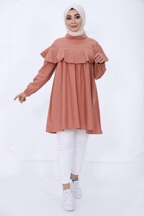 kombinal Kadın Mercan Tek Kat Detaylı Tunik
