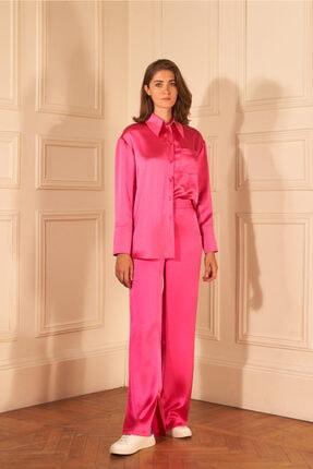 adL Kadın Fuşya Paçası Yırtmaçlı Saten Pijama Pantolon 15339412000