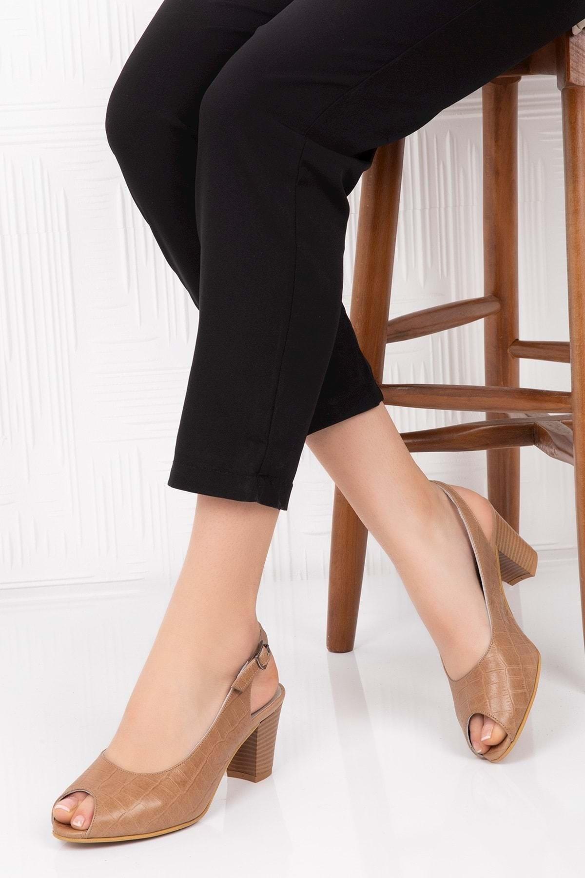 Gondol Hakiki Deri Topuklu Ayakkabı Taba Croco 38 Şhn.0040 1