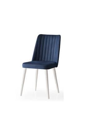 Weltew Home Bambu Sandalye Ekru-lacivert (4 Adet)