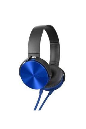 zore Mdr-xb450ap Mikrofonlu Katlanabilir Kulaküstü Kulaklık Eba Kulaklık Extra Bass Mavi