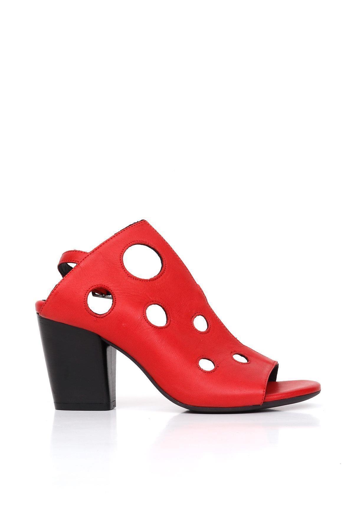 BUENO Shoes Desenli Hakiki Deri Kadın Topuklu Sandalet 9l3704 1