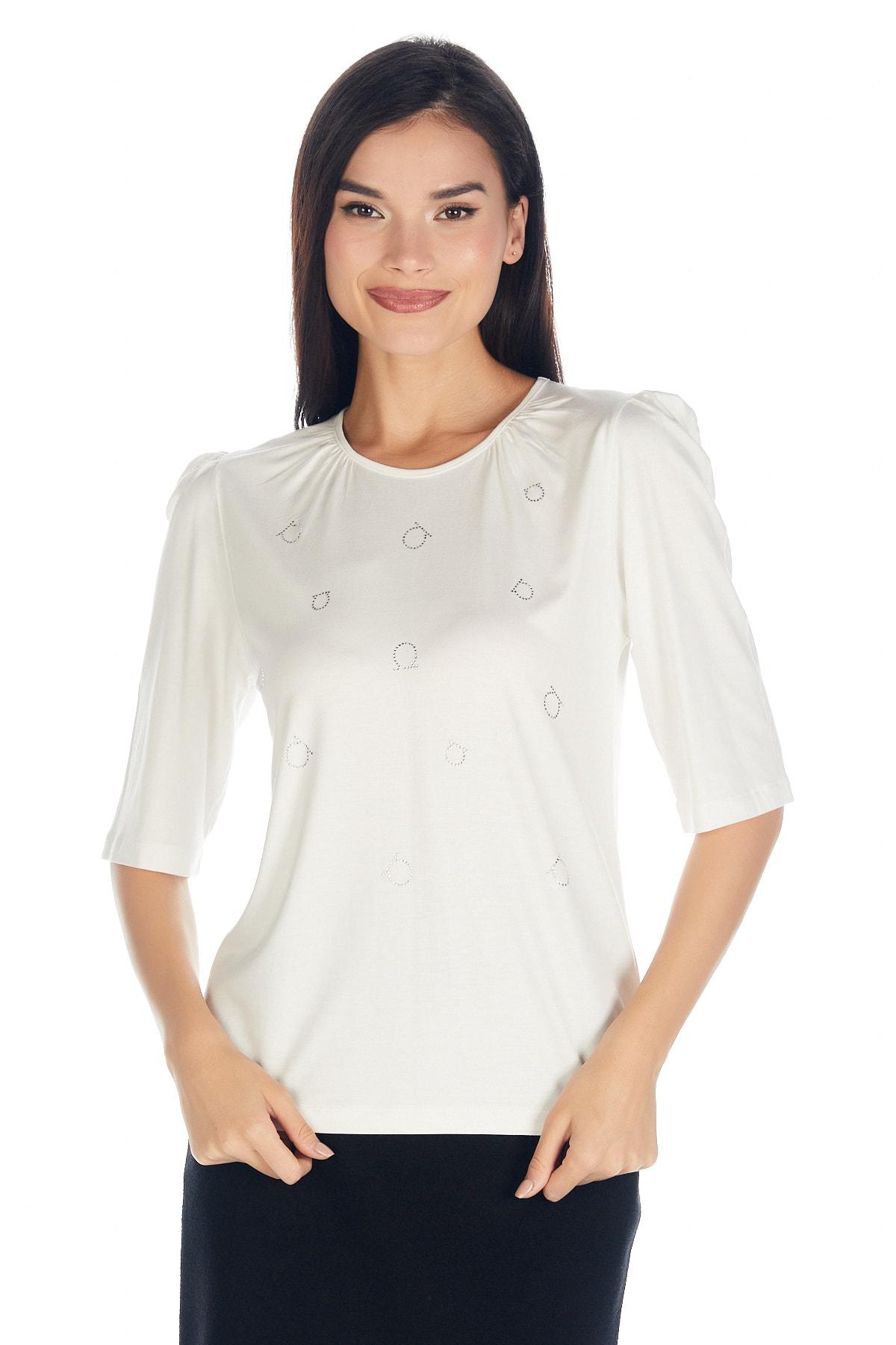 Solo Kadın Hotfix Viskoz-lycra T-shirt-bluz 1