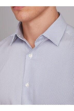 Dufy Beyaz Desenli Pamuk Erkek Gömlek - Regular Fit