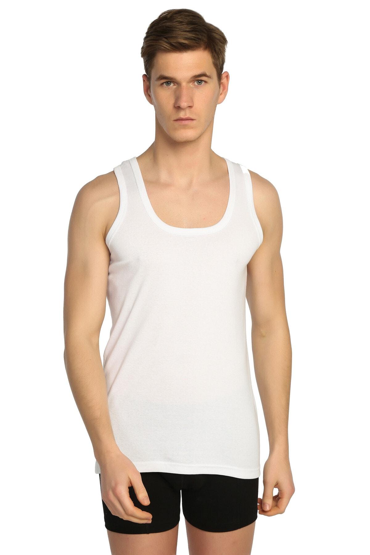 Tutku Erkek Beyaz 6'lı Paket Ribana Klasik Atlet Elf568t0102ccm6 2