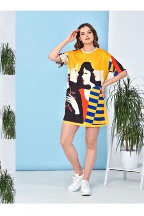 Karaca Yarım Kollu Hardal Rengi Yüz Desenli Elbise