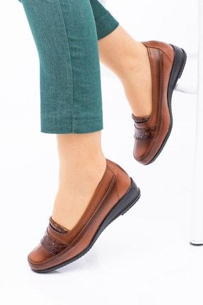 MelikaWalker Full Comfort Ortopedik Taban 4 Taşlı Içi Hakiki Deri Taba Anne Ayakkabısı