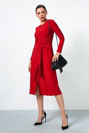 Gusto Beli Kuşaklı Elbise - Kırmızı