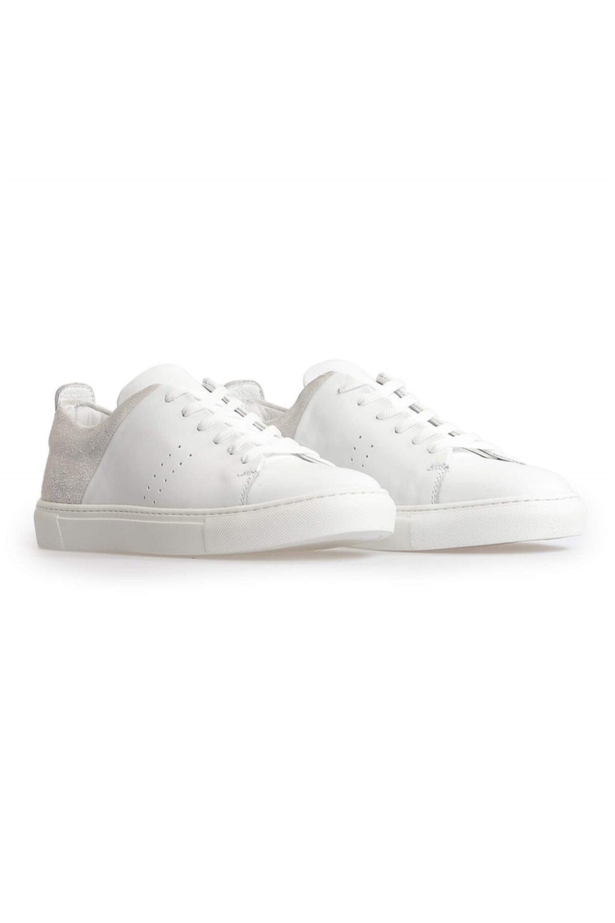 Flower Beyaz Deri Süet Kombin Bağcıklı Erkek Sneakers 2