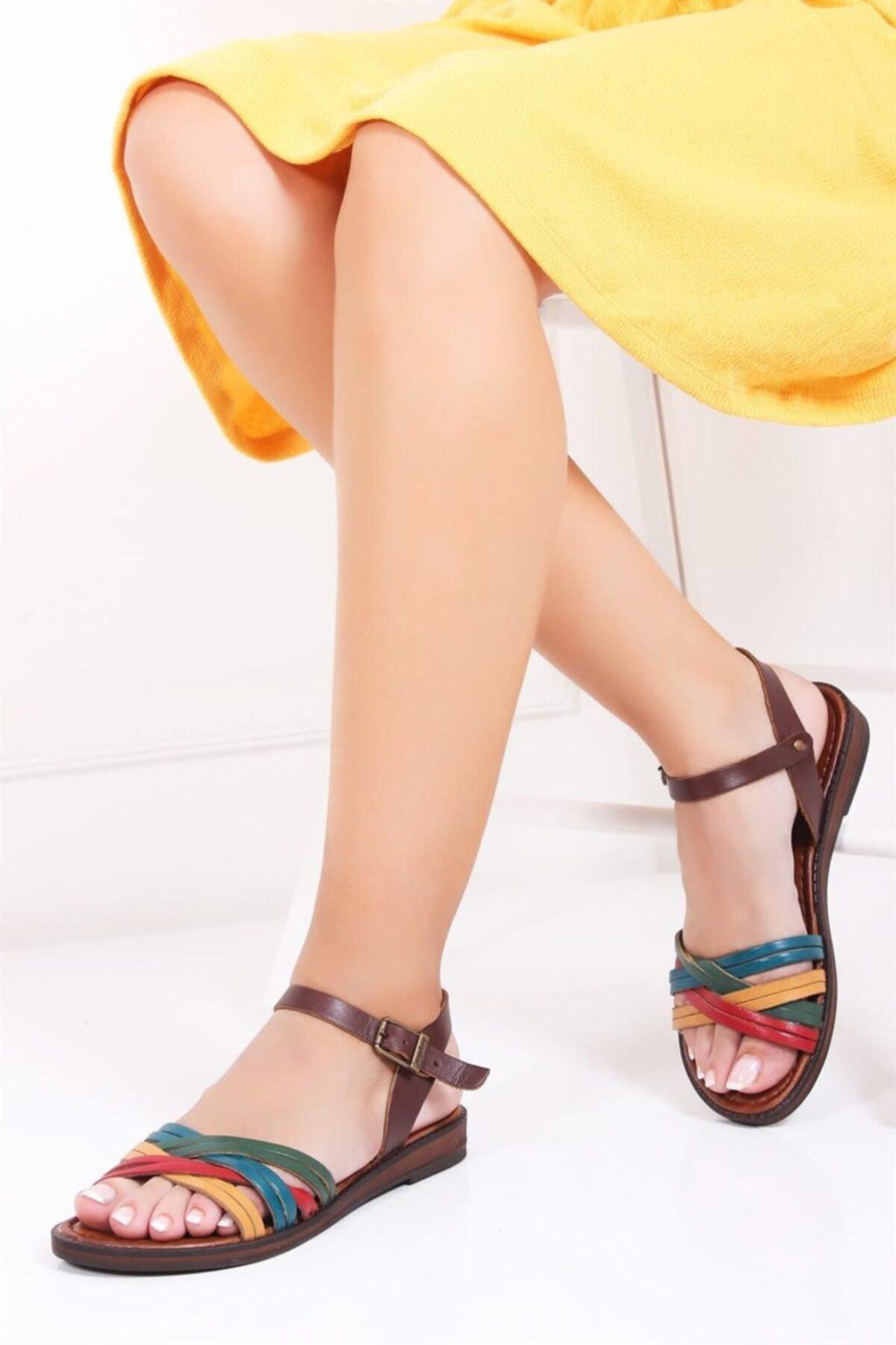 Deripabuc Hakiki Deri Multi-2 Kadın Deri Sandalet Dp-0013 1