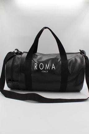 roma italy Silindir Siyah Iki Gözlü Fermuarlı, El - Omuz Askılı Spor Çantası