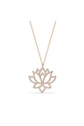 MySilvers Lotus Çiçeği Kolyesi Kadın Rose