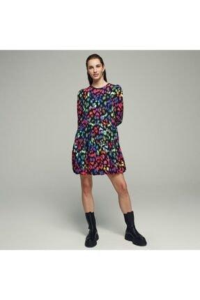 Mudo Renkli Leopar Desenli Mini Elbise