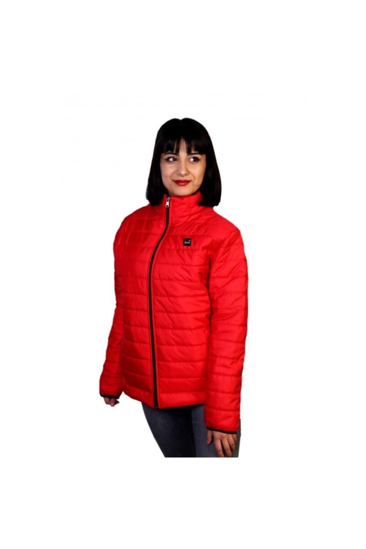 New Brand Jibau Kışlık Kadın Şişme Mont Kırmızı Renk 1
