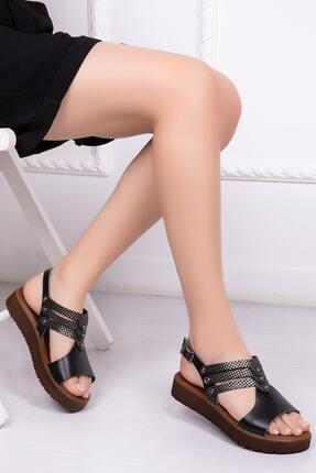 Deripabuc Hakiki Deri Siyah X3 Kadın Deri Sandalet Dp-0095