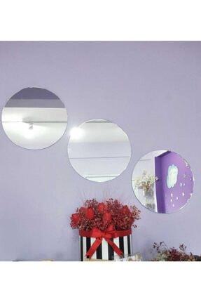 ZEKAAVM Yuvarlak Ayna 3 Adet 30x30 Cm