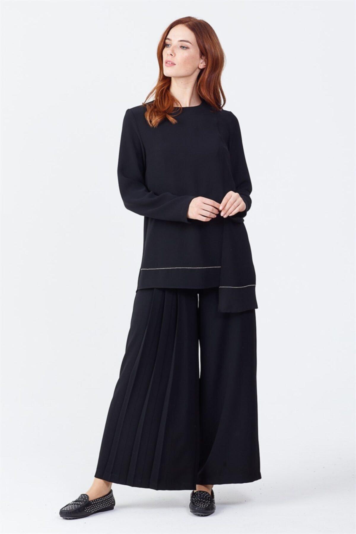Ghisa Pileli Pantolon Siyah 1