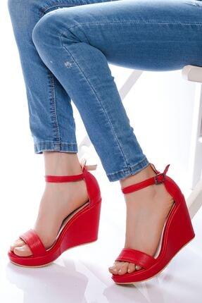 derithy -dolgu Topuklu Ayakkabı-kırmızı
