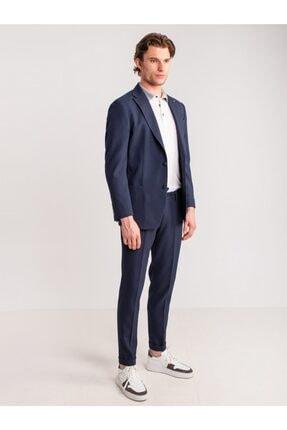 Dufy Lacivert Örgü Desen Ip Detaylı Likra Karışımlı Erkek Pantolon - Modern Fit