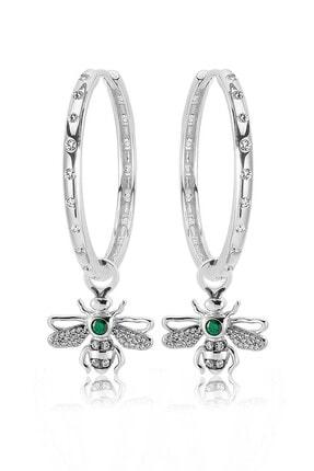 Valori Jewels Kraliçe Arı, Yeşil Ve Beyaz Swarovski Zirkon Taşlı, Gümüş Büyük Boy Still Halka Charm Küpe