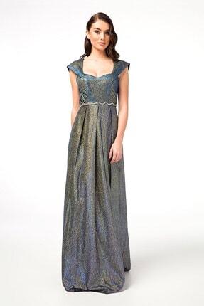 Abiye Sarayı Saks Bel Detaylı Uzun Abiye Elbise