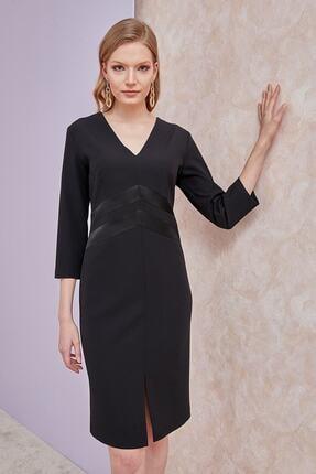 Journey Kadın Elbise-ön-arka V Yaka, Ön Beden Kesiti Saten Kombinli, Truvakar Kol Siyah 20yelb102