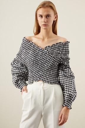 TENA MODA Kadın Siyah Çapraz Gipeli Bluz