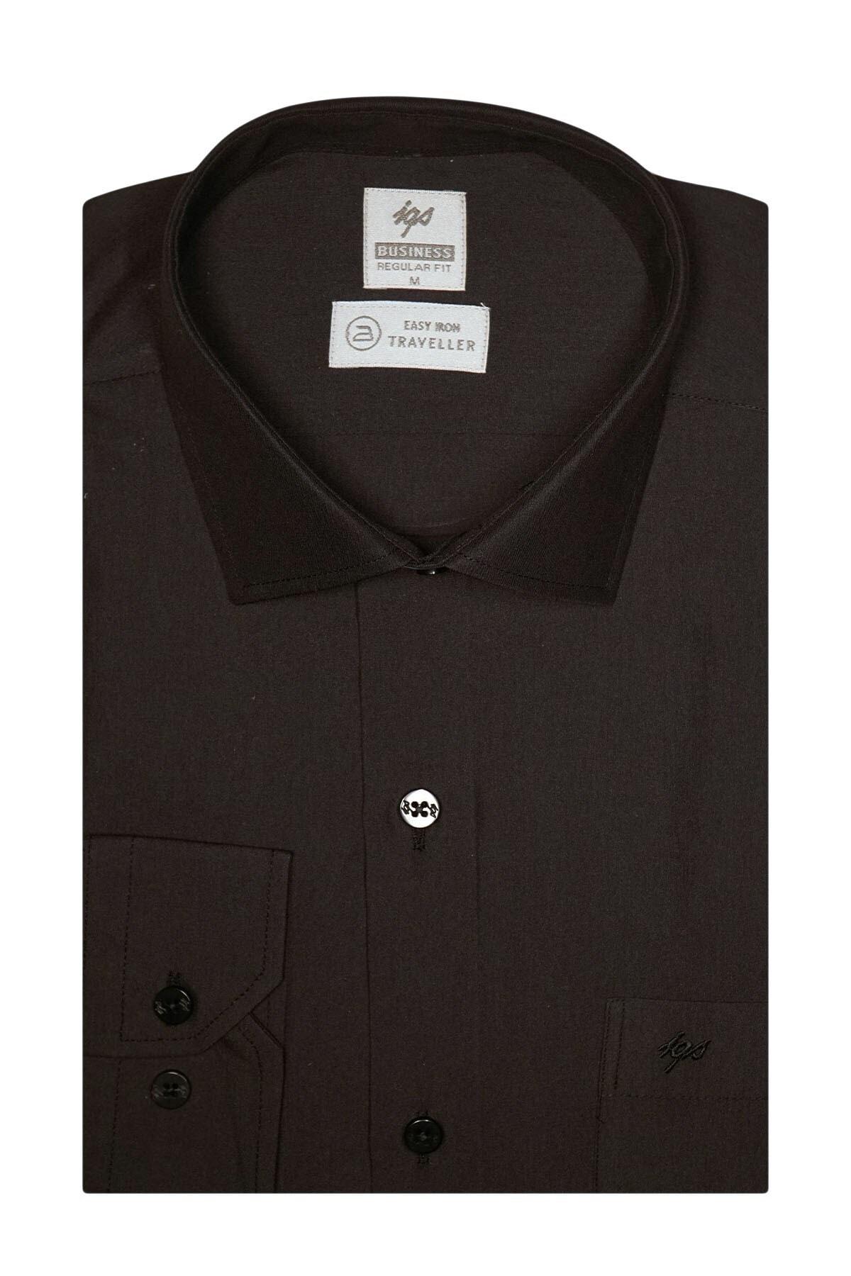 İgs Erkek Siyah Regularfıt / Rahat Kalıp 7 Cm Klasik Gömlek 1