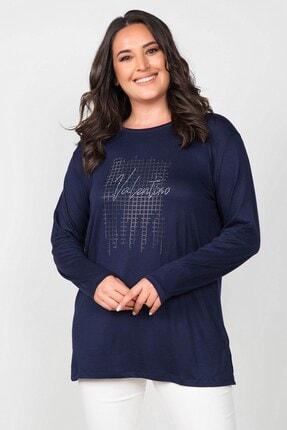 Womenice Büyük Beden Lacivert Valentino Taş Baskılı Bluz