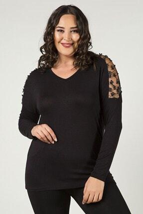 Womenice Büyük Beden Siyah Uzun Kol Omuz Tüllü Çiçekli Bluz
