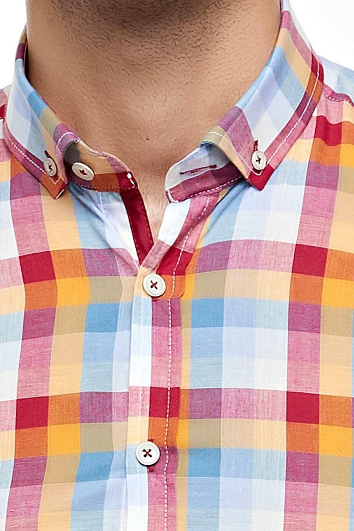 Ottomoda Kısa Kollu Kareli Gömlek Kırmızı Turuncu 2