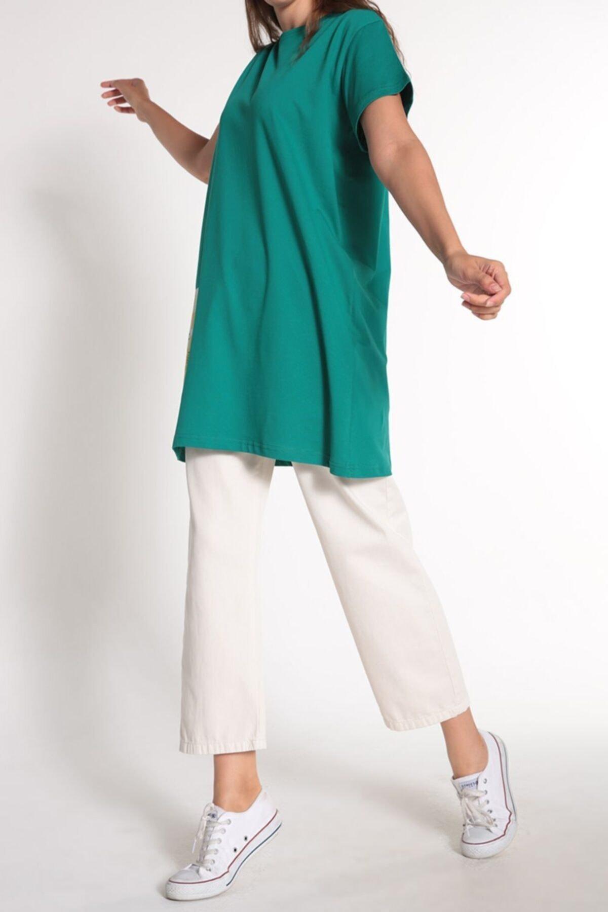 ALLDAY Zümrüt Yeşili Kısa Kol Baskılı T-shirt 1