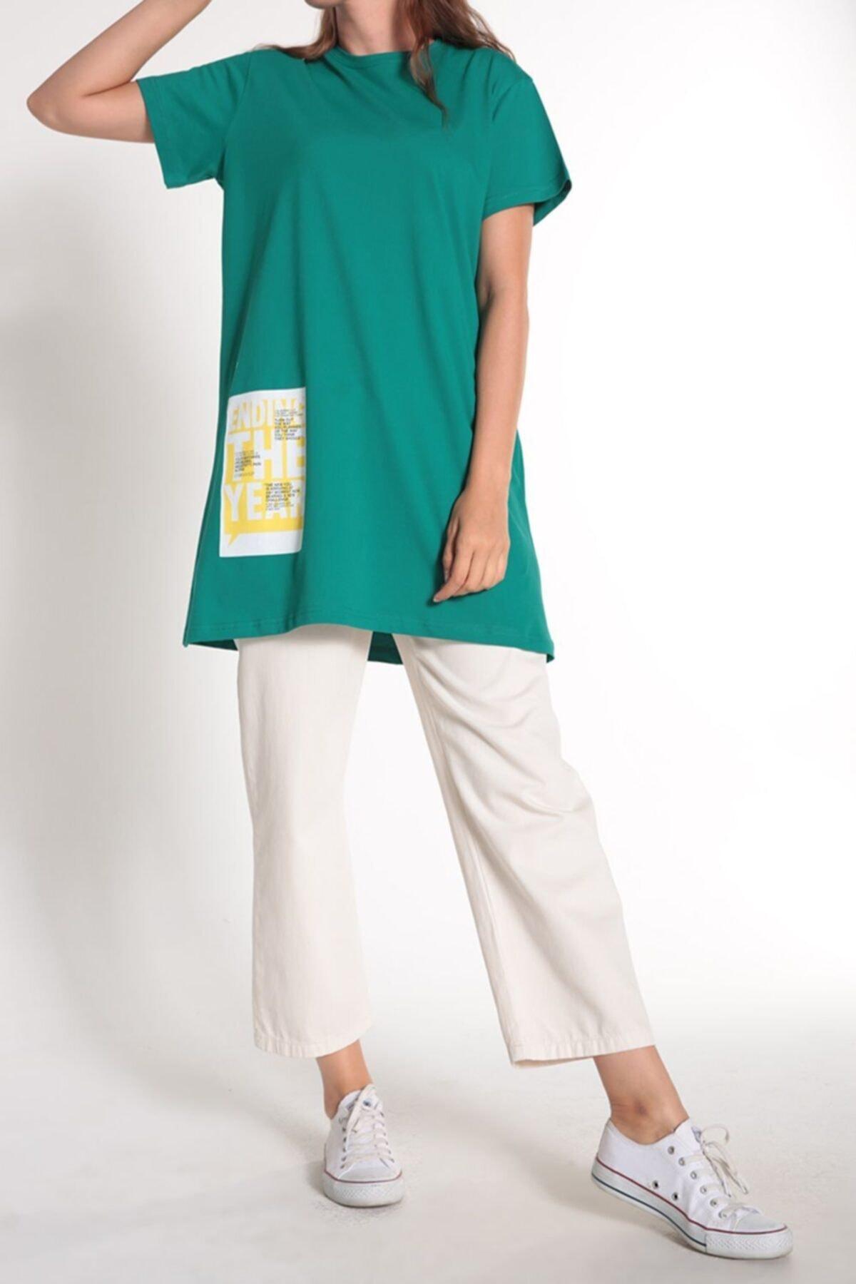 ALLDAY Zümrüt Yeşili Kısa Kol Baskılı T-shirt 2