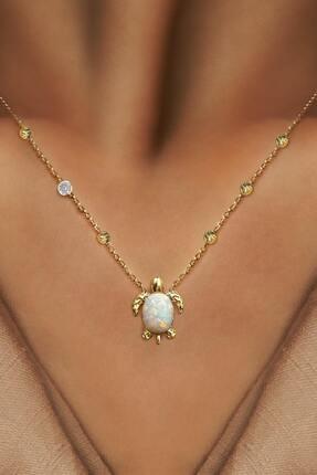 Demas Gold Pırlanta 14 Ayar Altın Dorikalı Avustralya Beyaz Opal Kaplumbağa Kolye