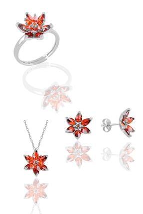 Söğütlü Silver Gümüş Rodyumlu Taşlı Nilüfer Lotus Çiçeği Üçlü Set
