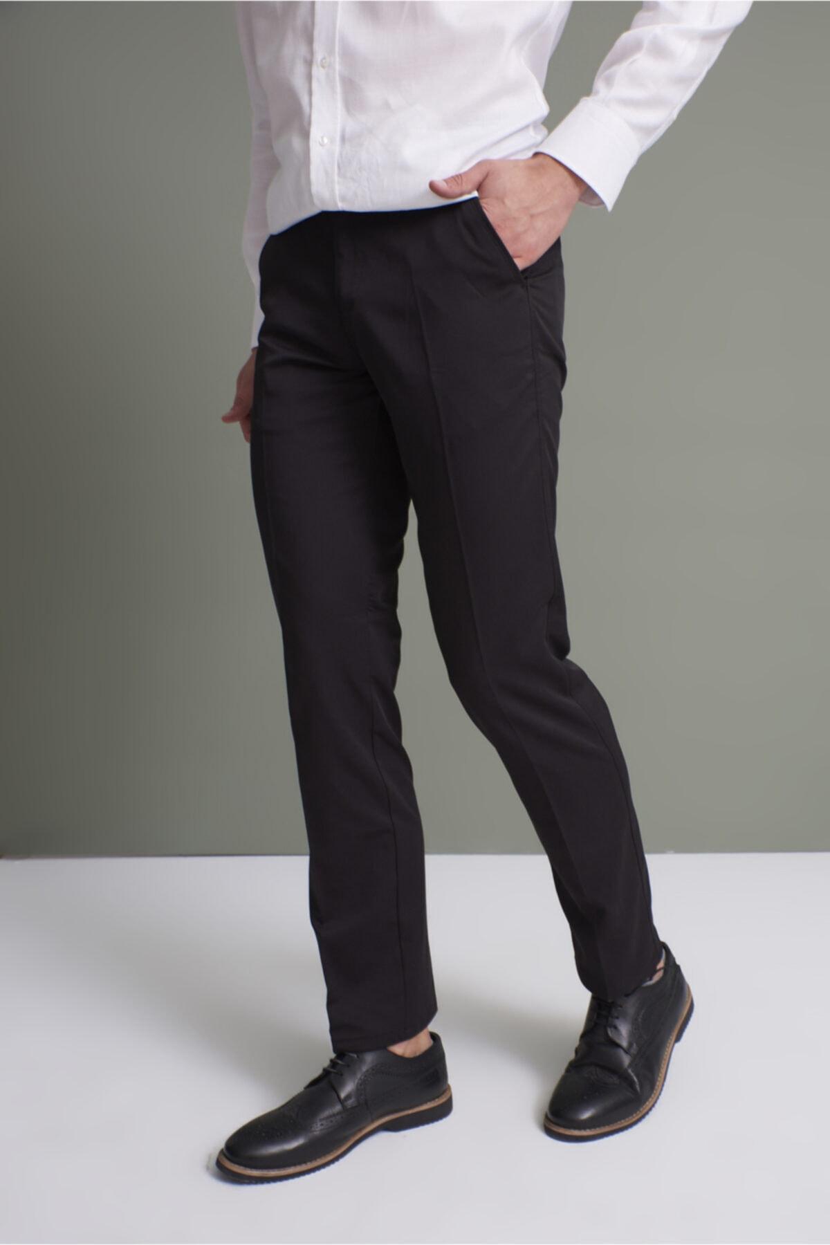 TENA MODA Erkek Siyah Klasik Rahat Kalıpkumaş Pantolon 2