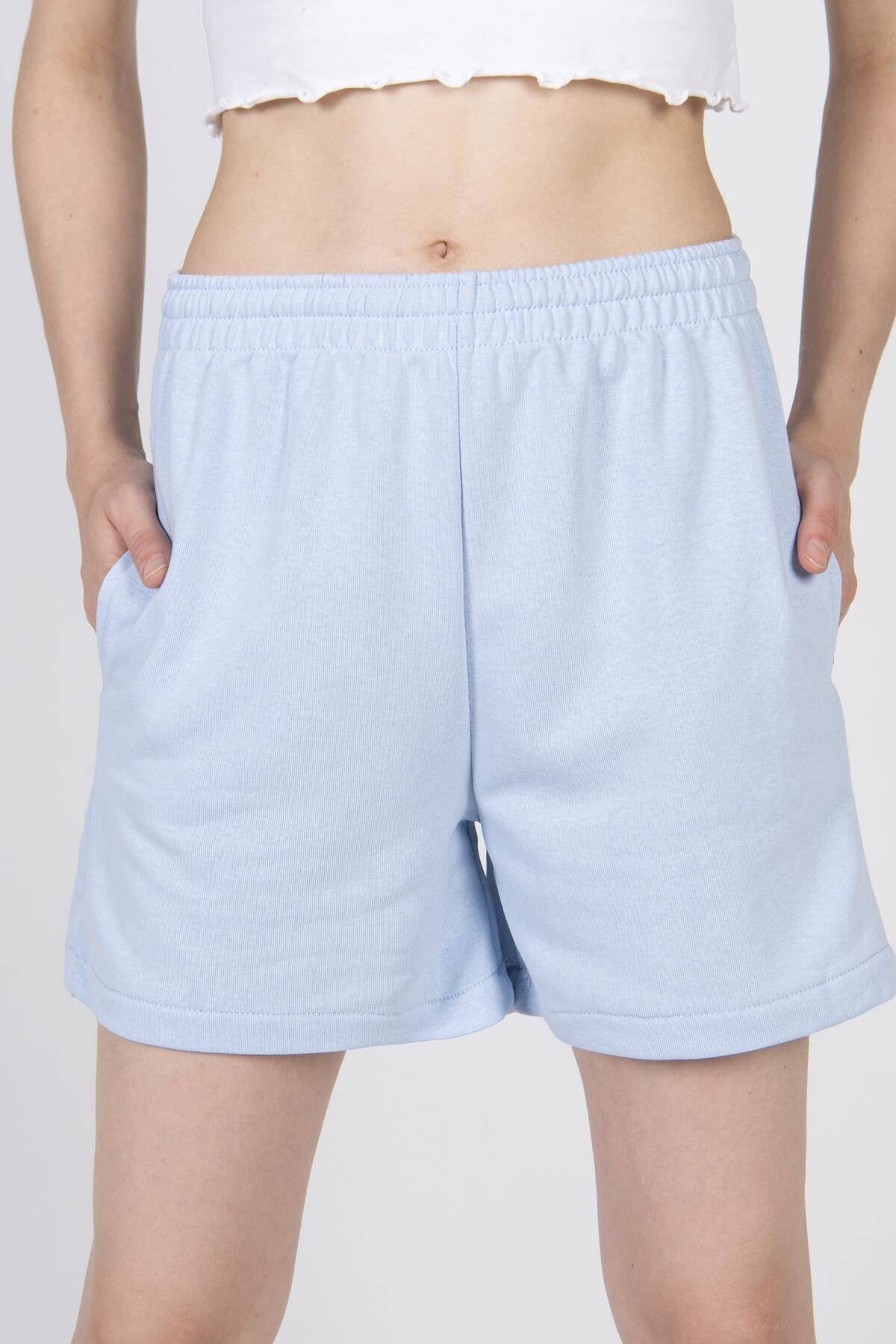 Addax Kadın Mavi Cep Detaylı Şort Ş0941 - F3 - F4 ADX-0000022301 2