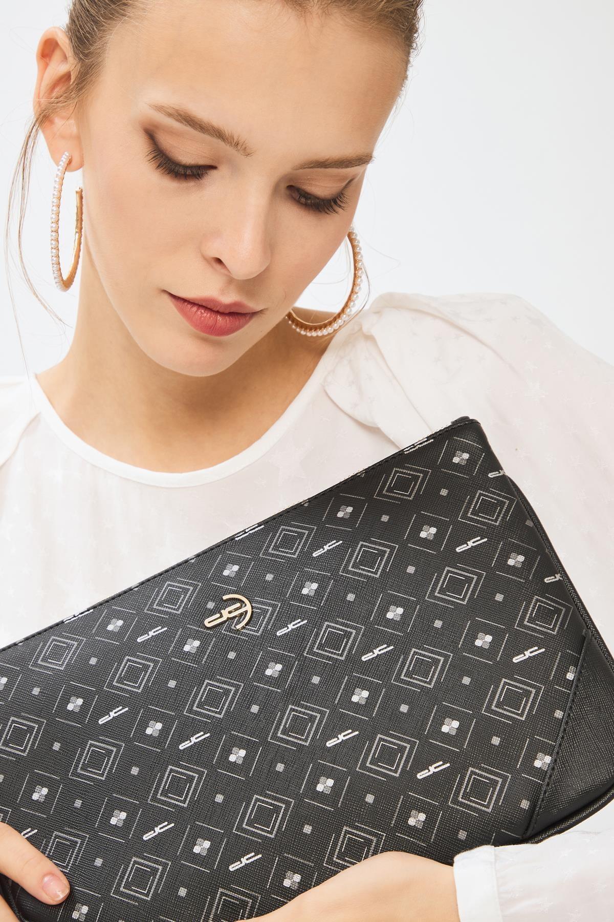 Deri Company Kadın Basic Clutch Çanta Monogram Desenli Siyah Gri 214002 2