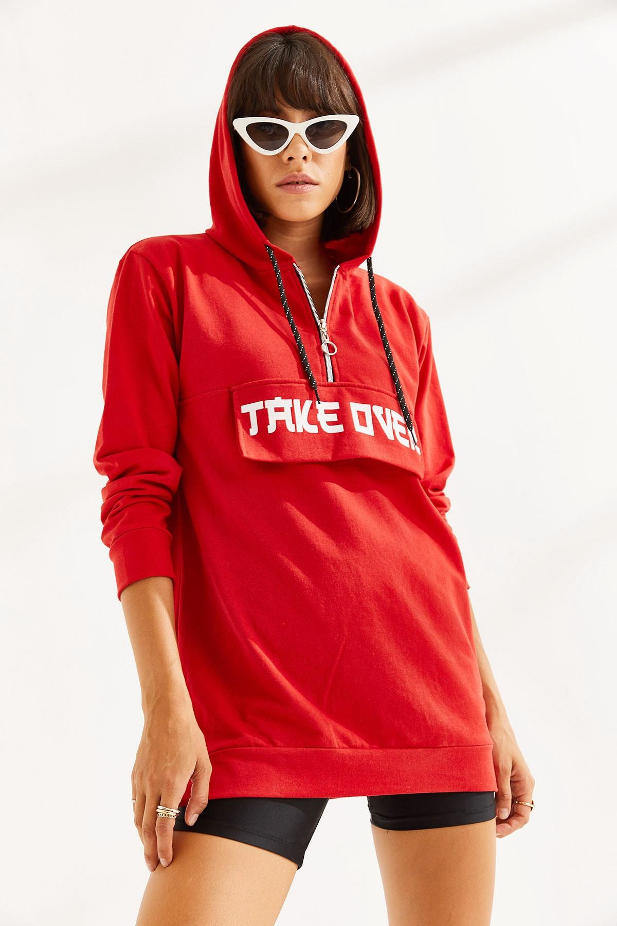 MTSTİL Kadın Önü Baskılı Uzun Kapşonlu Sweatshirt 2