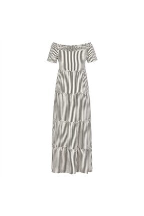 Mudo Düşük Omuz Çizgili Pamuk Maxi Elbise