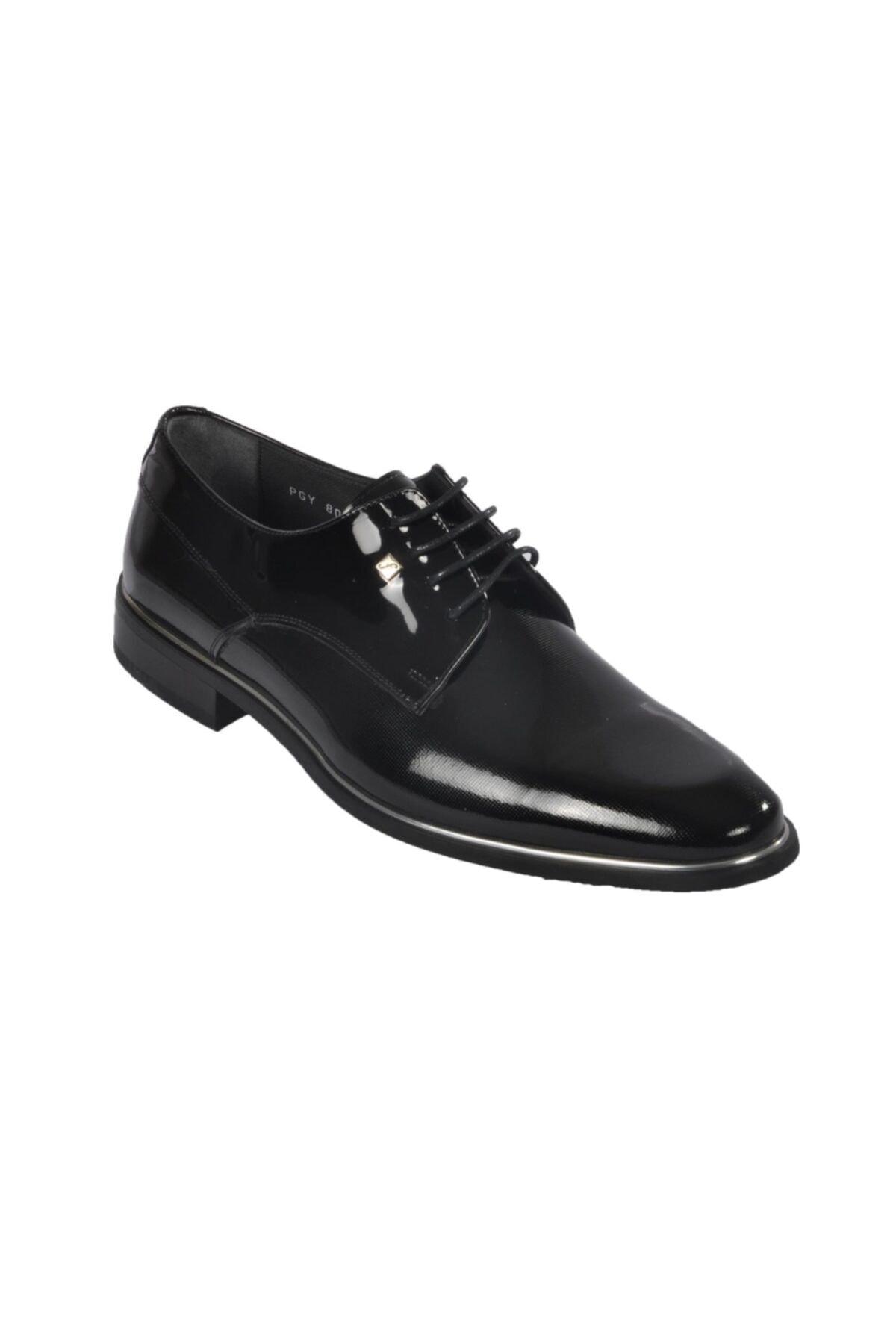 Fosco Rugan Siyah Erkek Hakiki Deri Klasik Ayakkabı 1
