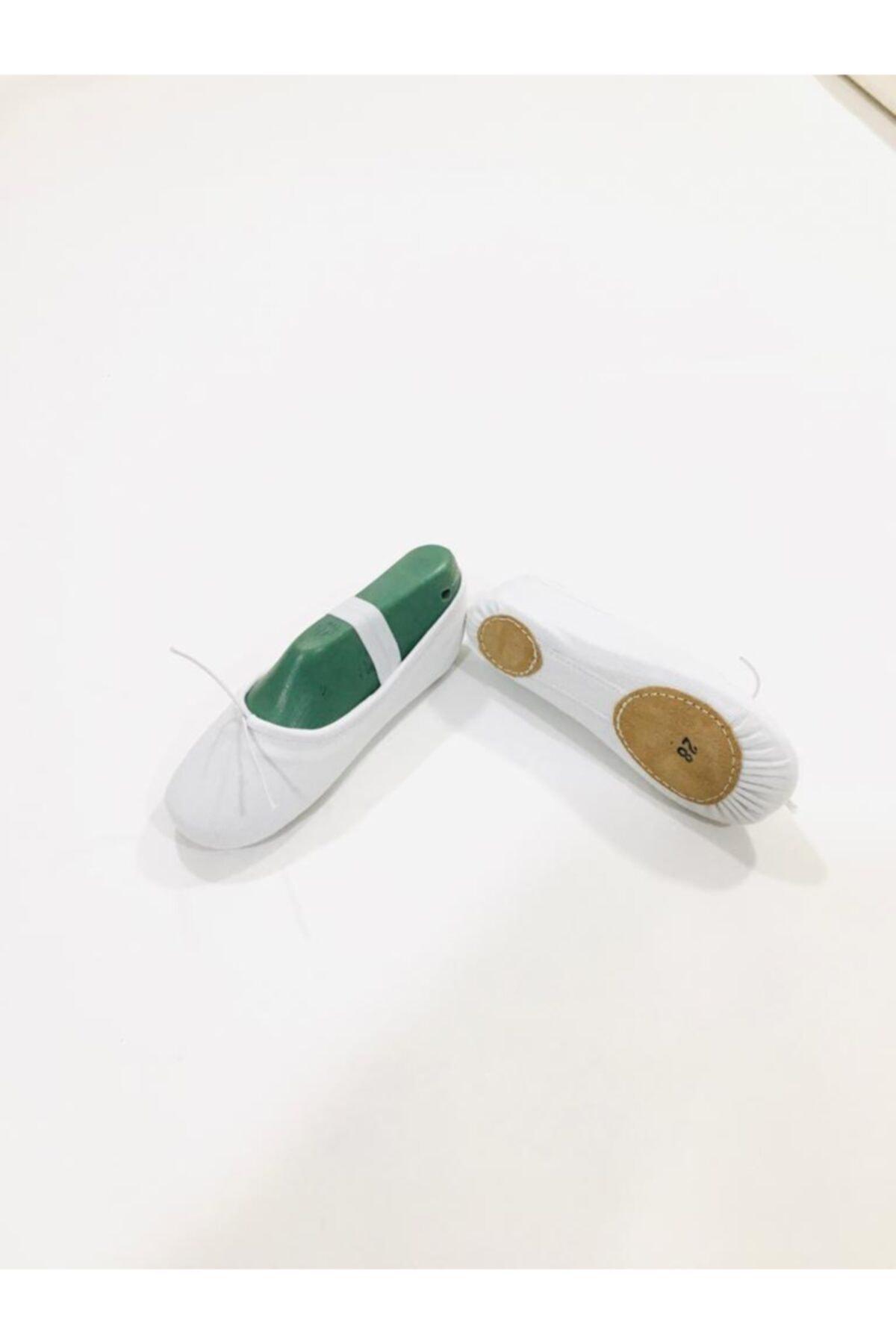Yıldız Bale Kostüm ve Spor Ürünleri Beyaz Kanvas Çift Taban Bale Patiği 1