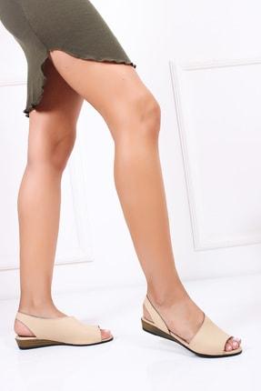 Deripabuc Hakiki Deri Bej Kadın Deri Sandalet Dp15-0051