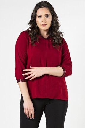 Womenice Büyük Beden Kırmızı Ön Parçalı Bluz