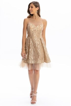 Abiye Sarayı Gold Gold Transparan Kısa Abiye Elbise