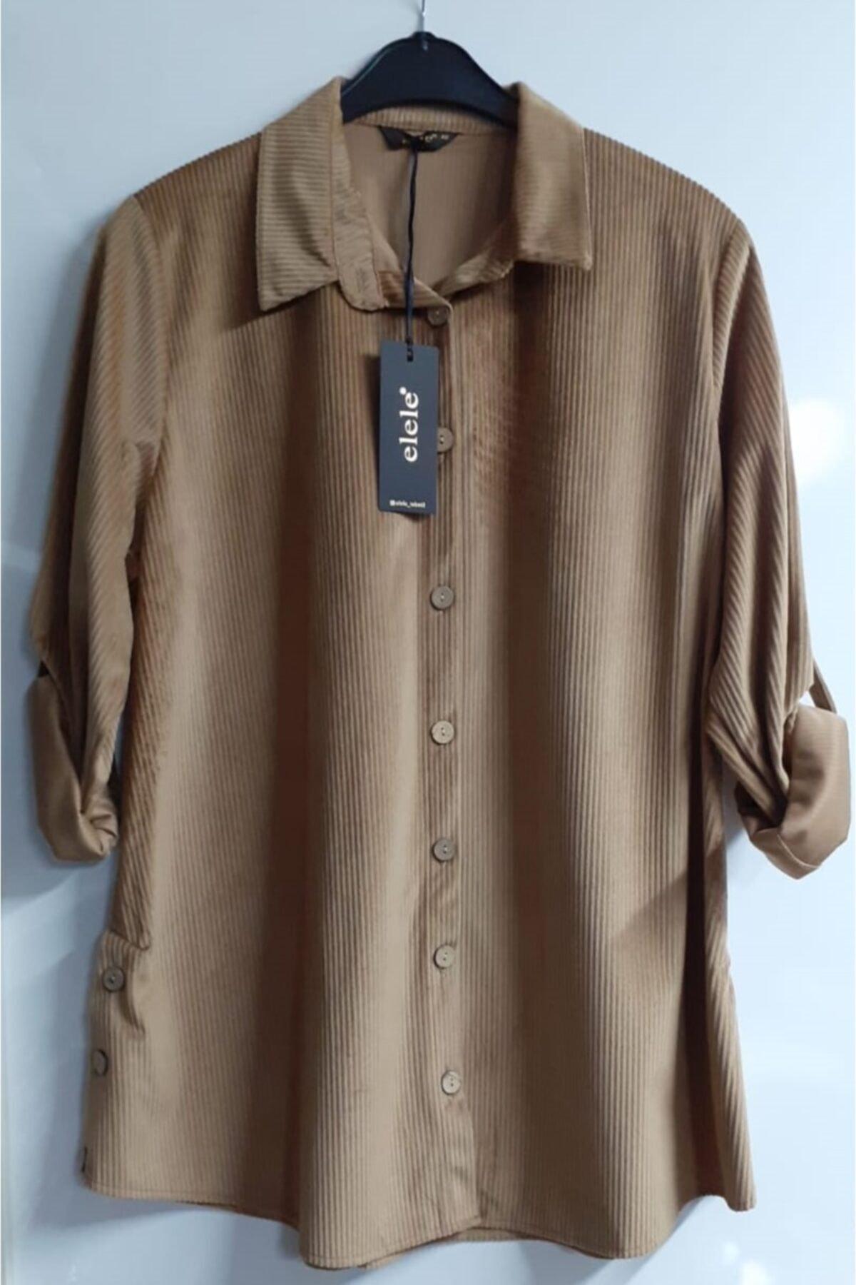 Elele Kadife Kadın Gömlek 1
