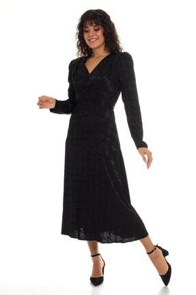 AYHAN 61367 Kazayağı Desen Jakarlı Uzun Elbise