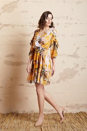 SERPİL Kadın Safran Volanlı Çiçek Desenli Elbise 32759