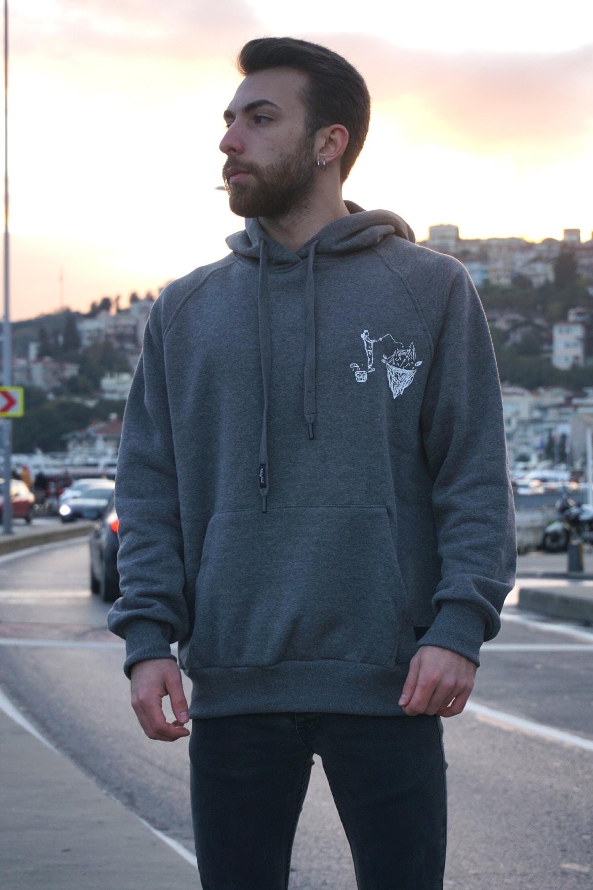 HUFROS Antrasit Renk Baskılı Kanguru Cepli Kapüşonlu Sweatshirt 1