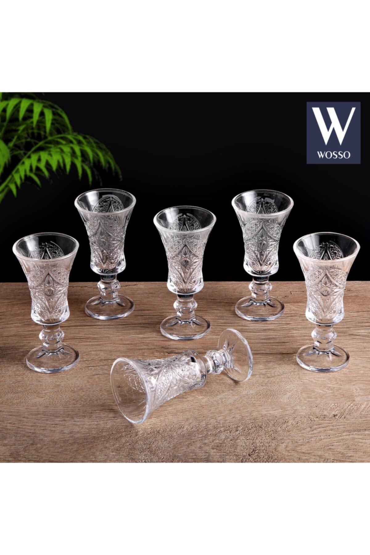 WOSSO 6'lı Kristal Camlı Kadeh Bardak Takımı (Kahve Yanı Su Bardağı) 1